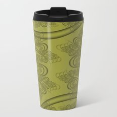 Golden Lime Fractal Metal Travel Mug