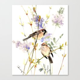 Sparrows and Spring Blossom Canvas Print