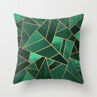 copper Throw Pillows featuring Emerald and Copper by Elisabeth Fredriksson