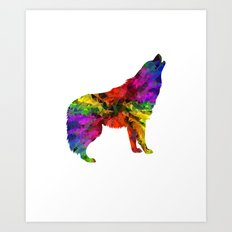 Wolf Howling Colourful Painted For Animal Lovers Art Print