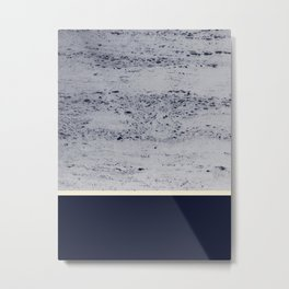 Navy Blue Pale Yellow on Navy Blue Concrete #1 #decor #art #society6 Metal Print