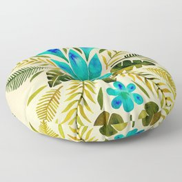 Tropical Symmetry – Turquoise & Olive Palette Floor Pillow