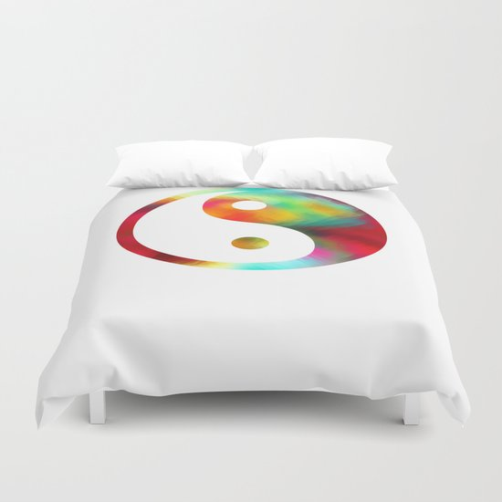 yin yang pattern clock 3 Duvet Cover