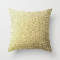 gold glitter Throw Pillows featuring gold glitter by lamottedesign