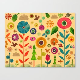 Flowers and Bees Canvas Print