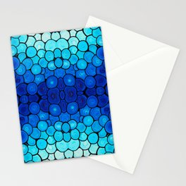 Winter Lights - Blue and White Abstract Mosaic Art By Sharon Cummings Stationery Cards
