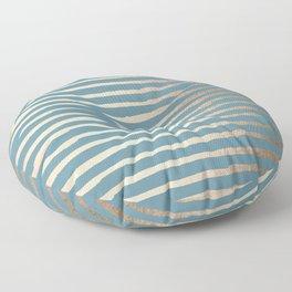 Abstract Stripes Gold Tropical Ocean Blue Floor Pillow