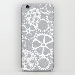 Old vintage rusty gears - white & gray iPhone Skin