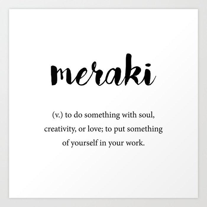 Meraki definition, Creativity Unique Words Dictionary Art Print