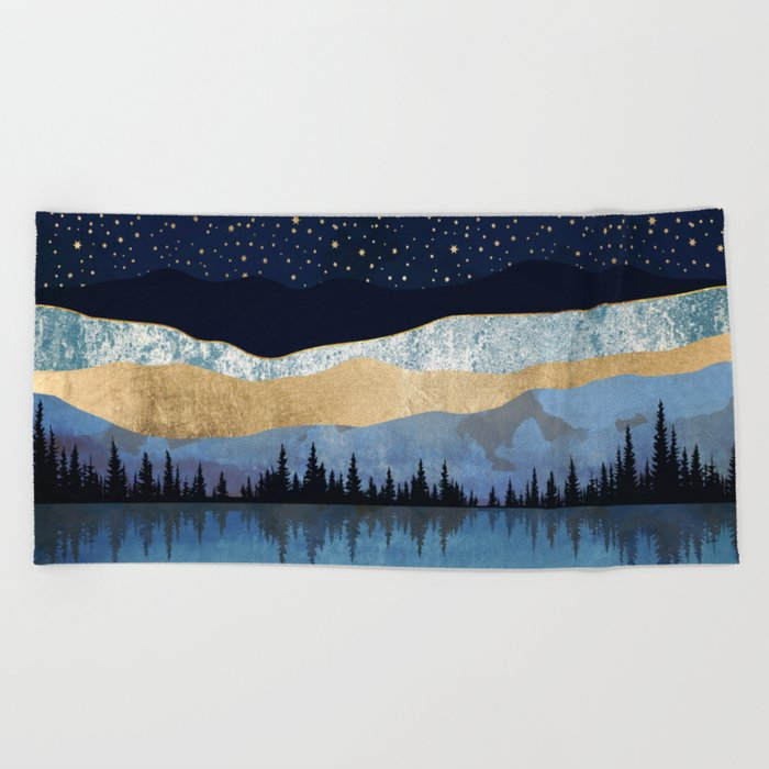 Midnight Lake Beach Towel