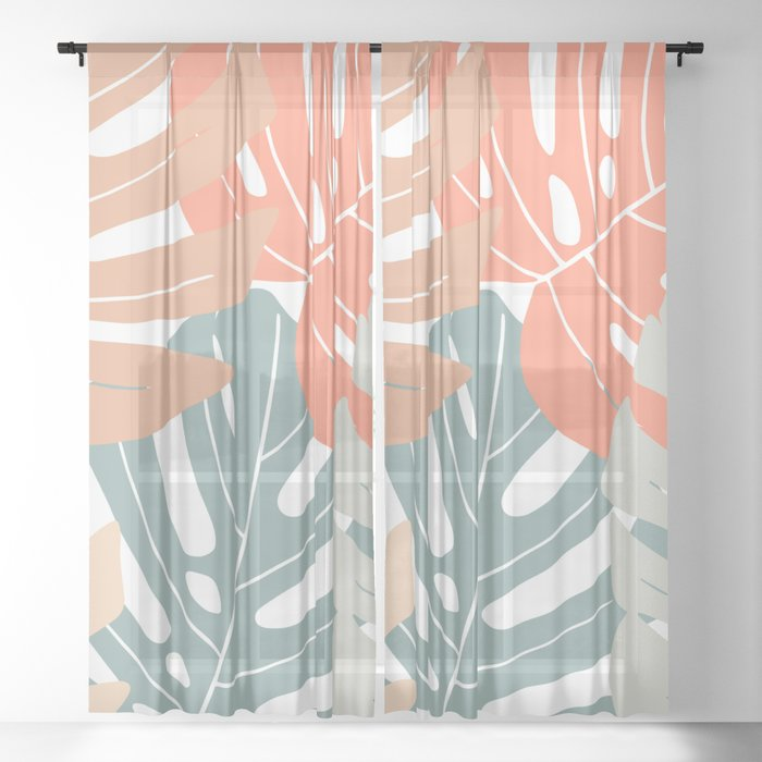 Monstera deliciosa Sheer Curtain