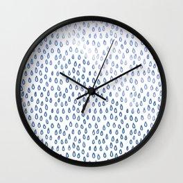 Blue Shimmer Raindrops Wall Clock