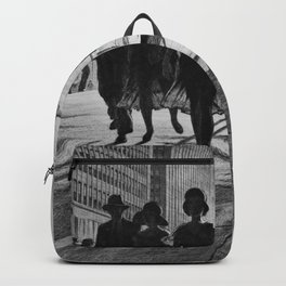 Shadow Dance, Street Scene, New York City skyline black and white drypoint portrait by Martin Lewis Backpack