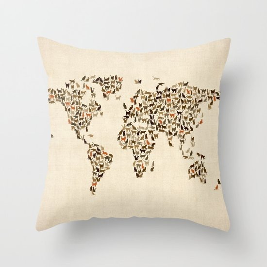 Throw Pillows With World Map : Cats Map of the World Map Throw Pillow by ArtPause Society6