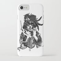 skull iPhone & iPod Cases featuring Chicana by Rudy Faber