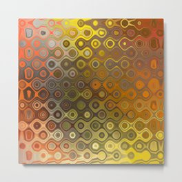 Wobbly Dots in yellow-orange Metal Print