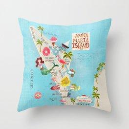 Anna Maria Island Map Throw Pillow