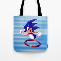 sonic Tote Bags featuring Sonic by DROIDMONKEY