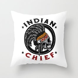 Indian Chief Warrior Skull Is Ready For Battle With His Feathered Headdress T-shirt Design Tribe Throw Pillow