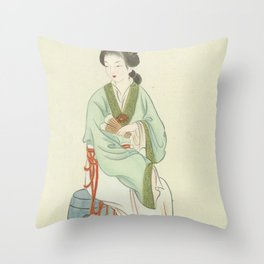Yingchun, Chinese Painting and Calligraphy Print, Twelve Beauties of Jinling of Famous Literary Throw Pillow