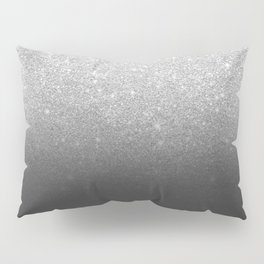 Modern faux silver glitter ombre grey black color block Pillow Sham