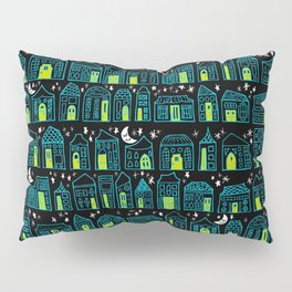 Starry Night in the City - Turquoise & Lime Pillow Sham