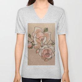 Pink Roses in Bunch Unisex V-Neck
