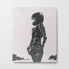 Moto Lady Metal Print