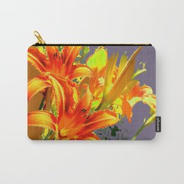 Serene Orange Daylilies Grey-Brown Abstract Carry-All Pouch