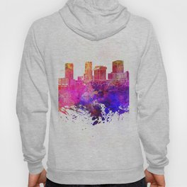 Akron skyline in watercolor background Hoody
