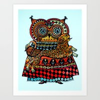 celtic Art Prints featuring Celtic owl ! by oxana zaika
