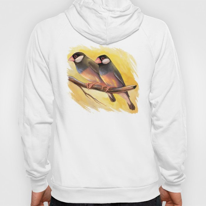 Java Sparrow finches realistic painting Hoody