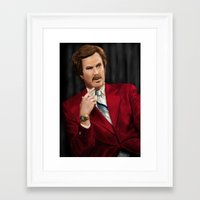 anchorman Framed Art Prints featuring Ron Burgundy - Anchorman by Mike Tiscareno
