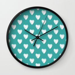 Pretty white love hearts on Teal Wall Clock