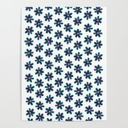Blue Pink Sunflower Seeds Flowers Pattern Poster