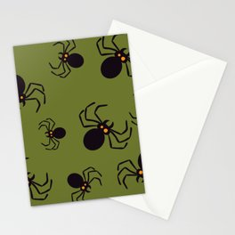 Halloween Green Spider Pattern Stationery Cards