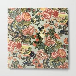 Chinese Dragon Vintage Floral Pattern Metal Print