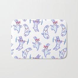 A sportу rabbit, watercolor pattern Bath Mat