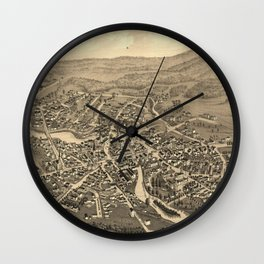 Vintage Pictorial Map of Laconia NH (1883) Wall Clock