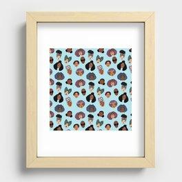 Black Hair Magic - Blue Recessed Framed Print