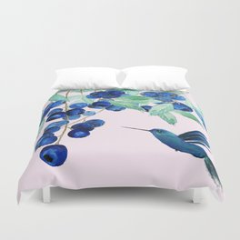 blueberry and humming bird Duvet Cover