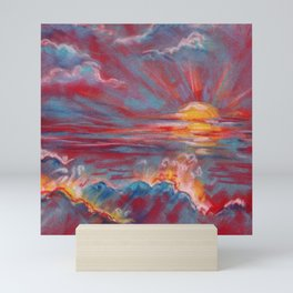 Sea sunset - abstract colorful landscape Mini Art Print