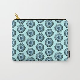 Turquoise Bue Daisy Pattern,Retro Carry-All Pouch