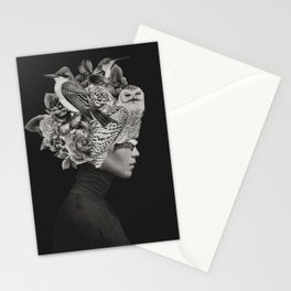 Lady with Birds(portrait) Stationery Cards