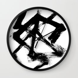 Brushstroke 5 - a simple black and white ink design Wall Clock