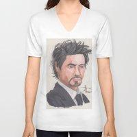 robert downey jr V-neck T-shirts featuring Robert Downey Jr. by Adrian Casanova