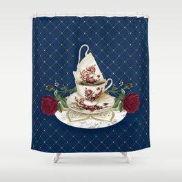 Vintage Rose Tea Cups Shower Curtain