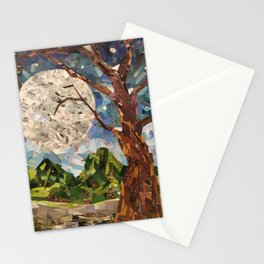 MOON WOOD COLLAGE Stationery Cards