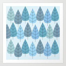 Mid century Trees in Blue Art Print