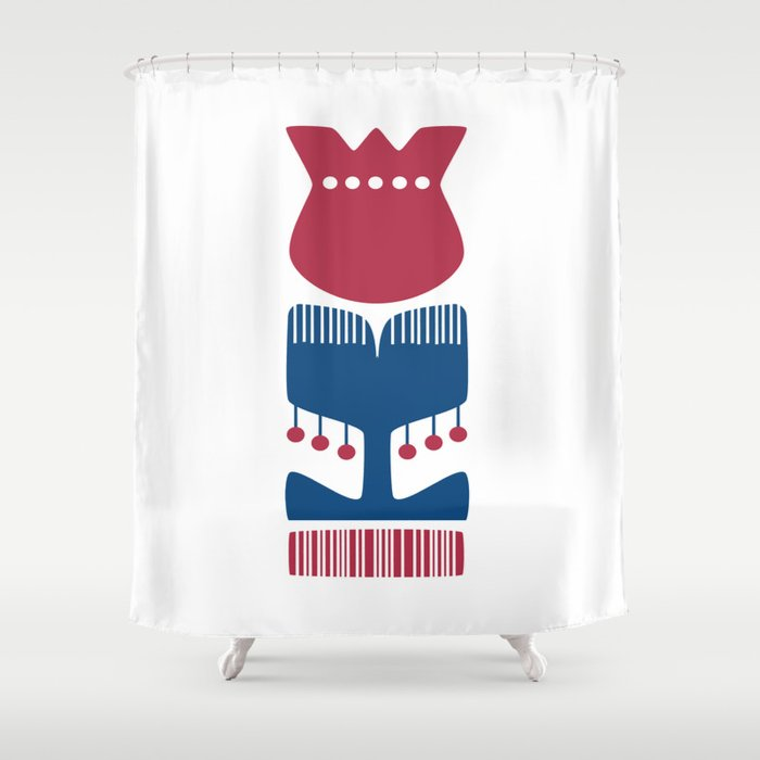 Nordic Red Flower Shower Curtain By Kristiinaalmy